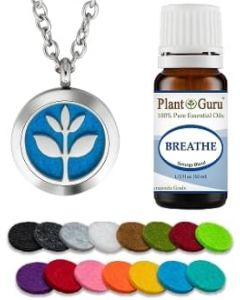 Essential Oil Diffuser Necklace Set With Breathe 10 ml