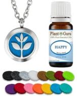 Essential Oil Diffuser Necklace Set With Happy 10 ml